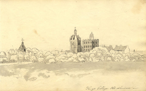 Alexander Dyce, King's College, Aberdeen - Original 1810 pen & ink drawing