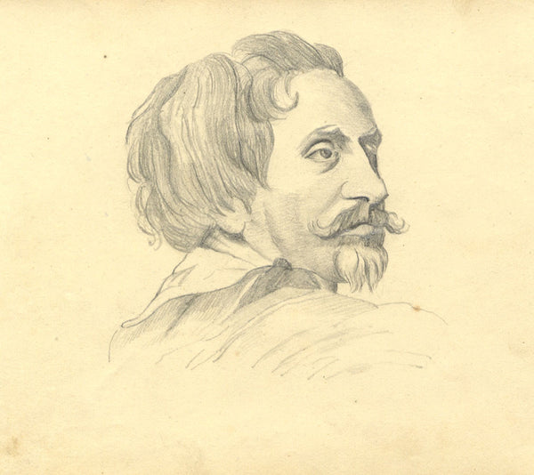 Alexander Dyce, Gentleman with Goatee Beard - Original 1810 graphite drawing