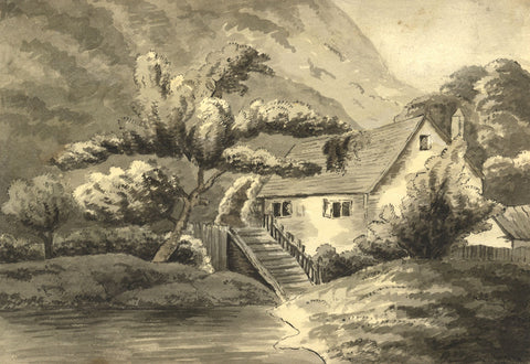 Alexander Dyce, Highland Cottage with Tree - Original 1810 watercolour painting