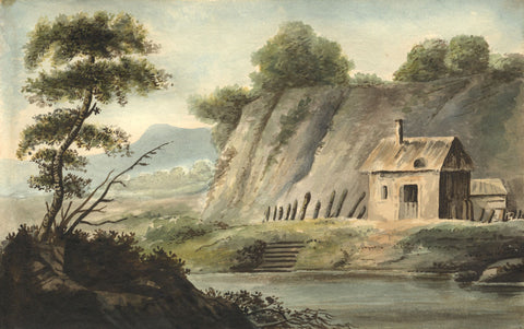 Alexander Dyce, Cabin on the Loch, Scotland - Original 1810 watercolour painting