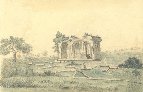 Alexander Dyce, Monument Ruin with Figure - Original 1810 graphite drawing