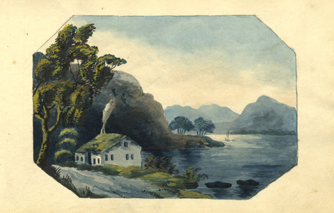 Alexander Dyce, Bothy by Loch, Scotland - Original 1810 watercolour painting