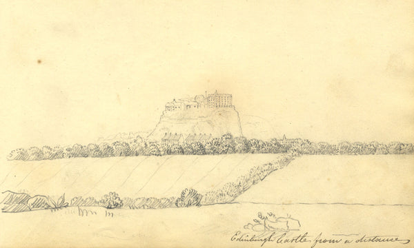 Alexander Dyce, Edinburgh Castle from a Distance -Original 1810 graphite drawing