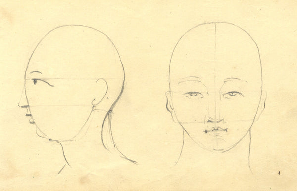 Alexander Dyce, Face Planes Studies - Original 1810 graphite drawing