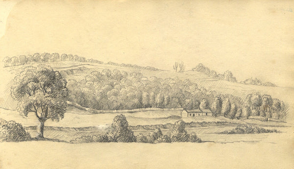 Alexander Dyce, Landscape with Bothy, Scotland - Original 1810 graphite drawing