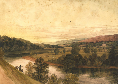 Attrib George Pickering, Valley Landscape -Mid-19th-century watercolour painting