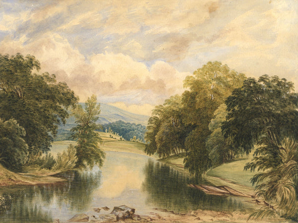 Ann Turner after George Pickering, River Landscape - 1854 watercolour painting