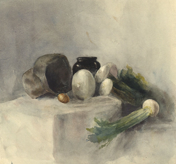Ann Turner, Still Life with Turnips - Original mid-19th-century watercolour painting