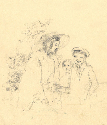 Ann Turner, Mother and Children - Original mid-19th-century graphite drawing