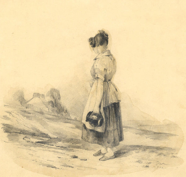 Ann Turner, Young Woman with Jug - Original mid-19th-century graphite drawing