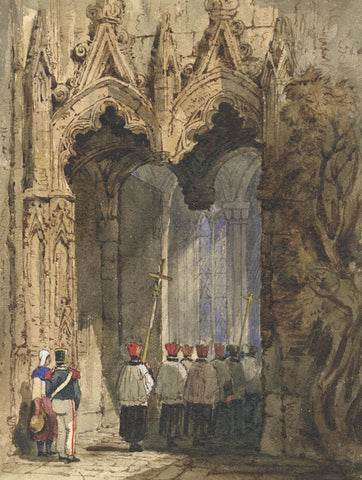 Ann Turner after Samuel Prout Cathedral Procession -Mid-19th-century watercolour
