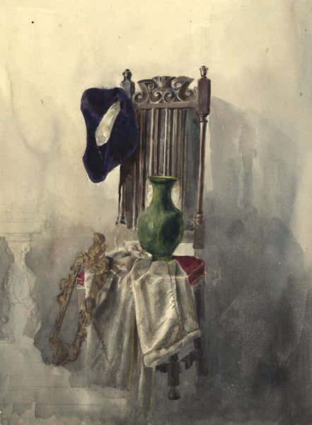 Ann Turner, Sill Life, Vase & Velvet Hat - Mid-19th-century watercolour painting