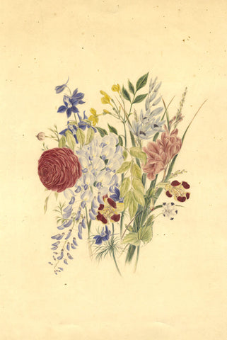 F.T., Floral Posy - Original 1868 watercolour painting