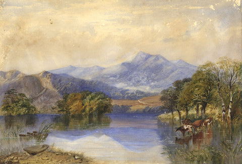 Ann Turner, Mountain Lake with Cattle - Original 1853 watercolour painting