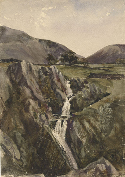 Ann Turner, Waterfall, Lake of Llanberis, Snowdon - 1840 watercolour painting