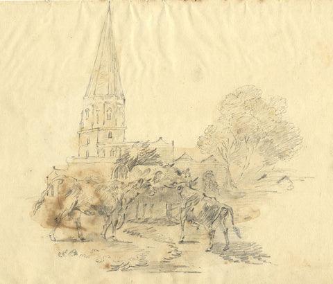 Eliza Mosley after George Morland, Cattle by Church - 1806 graphite drawing