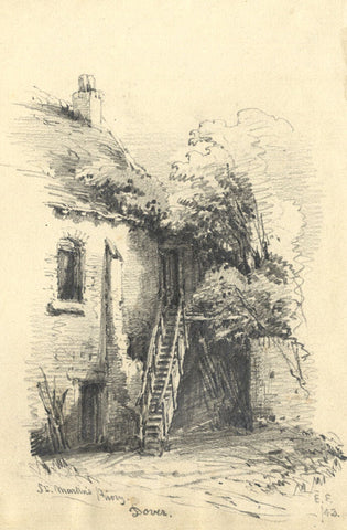 Edward Ford, St Martin's Priory, Dover - Original 1843 graphite drawing