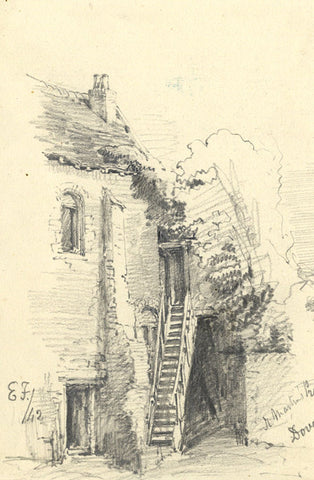 Edward Ford, St Martin's Priory, Dover - Original 1842 graphite drawing