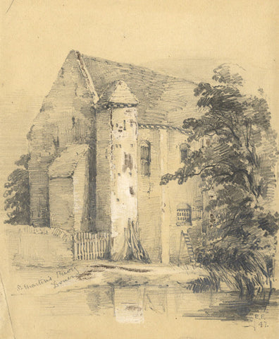 Edward Ford, St Martin's Priory, Dover - Original 1847 graphite drawing