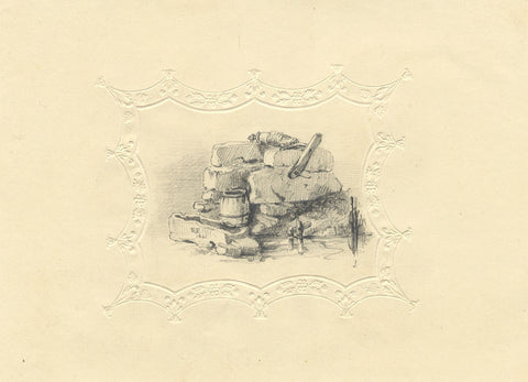 Edward Ford, Water Well - Original 1841 graphite drawing on embossed paper
