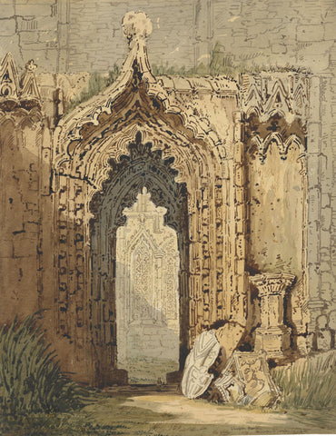 J.H., Chapter House, Howden Church, Yorkshire -1839 watercolour painting
