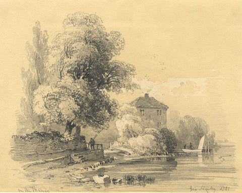 George Harley, On the Thames - Original 1841 graphite drawing