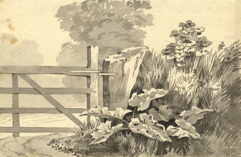Edward Kennion, Gate and Hedgerow - Early 19th-century watercolour painting