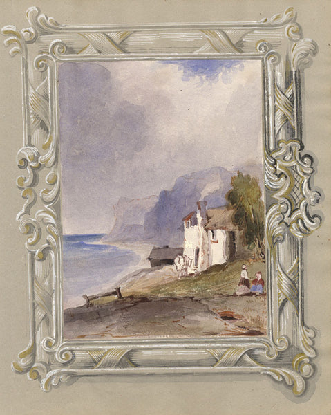 Coastal View with Figures - Original mid-19th-century watercolour painting