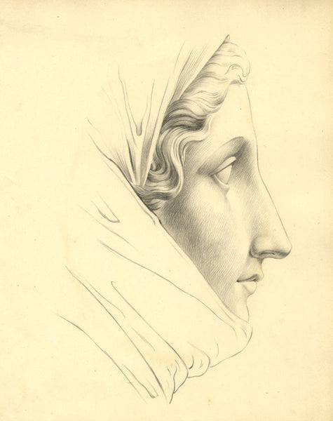 Classical Female Portrait in Profile -Original mid-19th-century graphite drawing