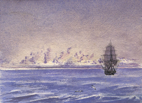 Lady Anne Sailing Ship, Indian Ocean  - Original 1861 watercolour painting