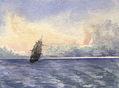 Sailing Ship, Round the Cape, Indian Ocean - Original 1861 watercolour painting