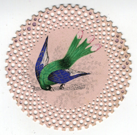 Miniature Bird of Paradise - 19th-century watercolour on Perforated Paper