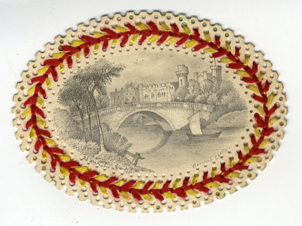 Miniature Warwick Castle -1834 graphite drawing with Perforated Paper Needlework