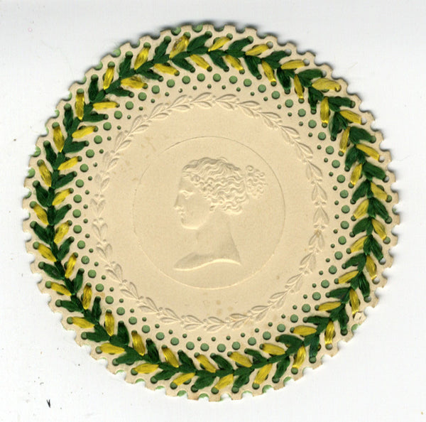 Classical Cameo Head with 19th-century Perforated Paper Needlework Border