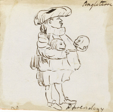 English Phrenology, Travel Observations - Early 19th-century ink drawing