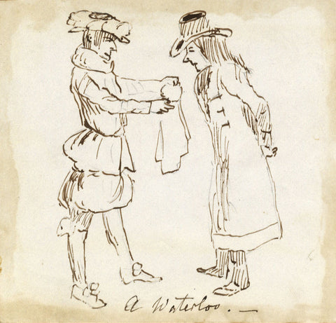 Peace Offering at Waterloo, Travel Observations - Early 19th-century ink drawing