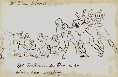 An Irish Meeting, Travel Observations - Early 19th-century ink drawing
