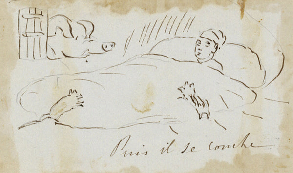 Bedtime at Irish Farm, Travel Observations - Early 19th-century ink drawing