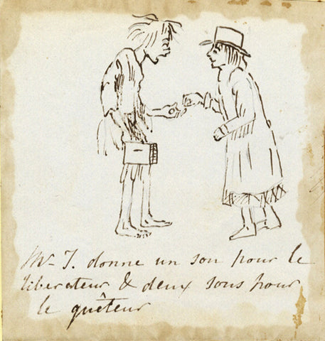 Frenchman Traveller Giving to Poor - Early 19th-century ink drawing