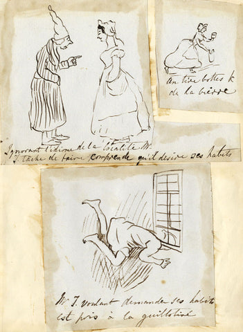 A Frenchman in Britain, Travel Observations - Early 19th-century ink drawing