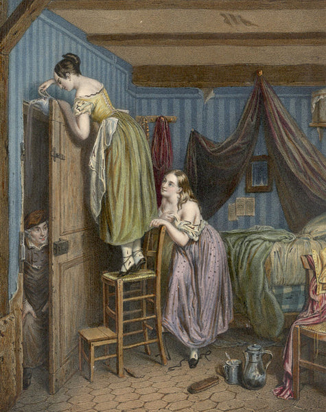 Bedroom Scene with Peeping Tom - 19th-century hand-coloured lithograph print