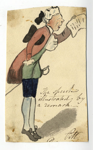 William Pitt Younger Satirical Cartoon - Early 19th-century watercolour painting