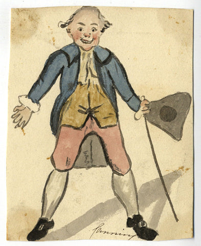 George Canning MP Satirical Cartoon - Early 19th-century watercolour painting