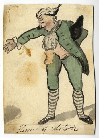 Speaking Politician Satirical Cartoon - Early 19th-century watercolour painting