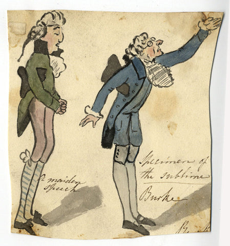 Edmund Burke Satirical Cartoon - Early 19th-century watercolour painting