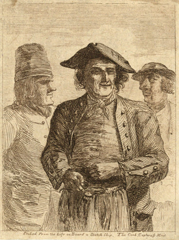 Paul Sandby, Etched from the Life on Board a Scotch Ship. The Cook, Captain & Mait - Original 1751 etching print