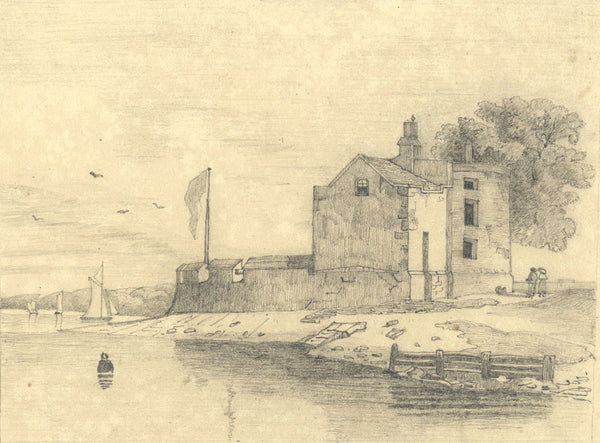 Coastal View with Fortification - Original 19th-century graphite drawing