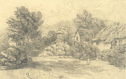 Lady in Cottage Gardens - Original 19th-century graphite drawing