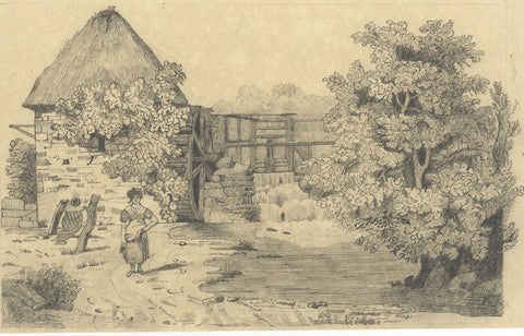 Watermill with Lady & Water Jug - Original 19th-century graphite drawing