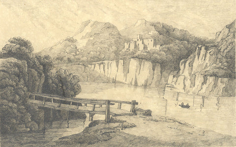 River Landscape with Fortification - Original 19th-century graphite drawing